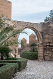 An arch at medieval moorish fortress Alcazaba of Almeria. Andalusia, Spain Royalty Free Stock Images