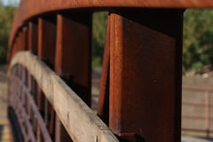Arch of metal and wood bridge Royalty Free Stock Photo