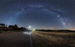 Arch of the Milky Way over the village of Moldones