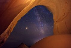 An arch with the milky way during the Persieds meteor shower, Utah, USA. Royalty Free Stock Photos