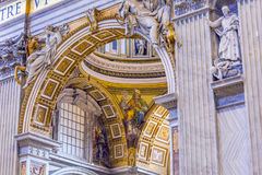 Arch Mosaic Statues Saint Peter`s Basilica Vatican Rome Italy. Built in 1600s over St. Peter`s tomb Royalty Free Stock Image