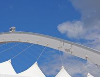 ARCH OF MOSES MABHIDA STADIUM AGAINST THE BLUE SKY. View of architectural detail of Moses Mabhida stadium in Durban Kwazulu Natal against blue sky Stock Photography
