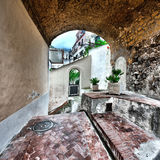 Arch. Narrow Alley with Arch in Italian City of Cetara Stock Photos
