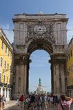 Arch near Commerce Square in Lisbon, Portugal Royalty Free Stock Image