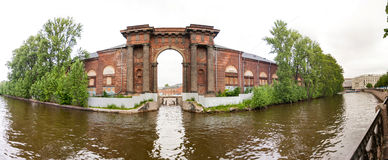 Arch of New Holland on the Moika River Stock Image