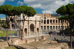 Arch Of Constantine And Colosseum In Rome Royalty Free Stock Image