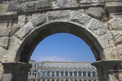 Arch Of The Arena In Pula Royalty Free Stock Photo