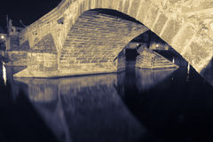 The arch of Old bridge in Písek. The arch of Old stone bridge in Písek Stock Photography