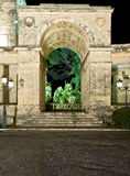 Arch of old British palace. By night at Corfu island, Greece Stock Photos