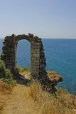 Arch of the old castle. On the beach, Cape Kaliakra, Bulgaria Royalty Free Stock Image
