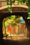 Arch of old colorful traditional patio Royalty Free Stock Photos