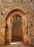 Arch. An old Islamic style arch decorating an old mosque in Sale near Rabat, Morocco Royalty Free Stock Photos