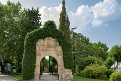 Arch of the old monastery of San Jeronimo in Zamora. Zamora, Spain; August, 2018: Arch of the old monastery of San Jeronimo in the Castillo Park, Zamora stock photos