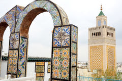Arch over the famous Tunis skyline Royalty Free Stock Photography
