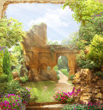 Arch overlooking a garden. The blossoming bushes. Ancient ruins on a background. Italian motives. Sunny day royalty free stock photos