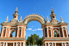 The arch of palace of Catherine the Great in Tsaritsyno, Moscow Royalty Free Stock Photos