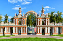 The arch of palace of Catherine the Great in Tsaritsyno, Moscow. The arch of palace of queen Catherine the Great in Tsaritsyno, Moscow, Russia. Tsaritsyno - the Royalty Free Stock Images