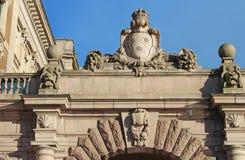 Arch of parliament and Drottninggatan street stock images