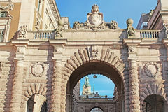 Arch of parliament and Drottninggatan street Royalty Free Stock Photography