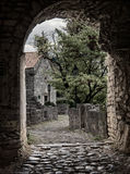 Arch pathway in old town Royalty Free Stock Image