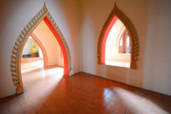 Arch pathway. In pagoda at Wat Tham Sua (Tiger Cave Temple), Kanchanaburi thailand Royalty Free Stock Photos