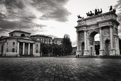 Arch of Peace (Arco della Pace) in Milan, Italy. Photo in black stock photo