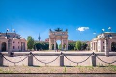 The Arch of Peace Arco della Pace in Sempione Park, Milan, Italy. The Arch of Peace Arco della Pace in Sempione Park, Milan, Italy behind the Sforza Castle Stock Image