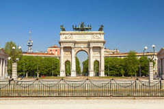 Arch of peace in the city of milan. Beautiful arch of peace in the city of milan Stock Photos