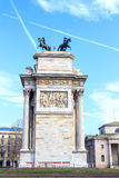 Arch of peace Milan. Ancient building in the entrance of Milan Stock Photos