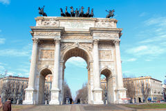 Arch of peace Milan. Ancient building in the entrance of Milan Stock Photo