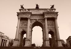 Arch of the peace, Milan, Italy. royalty free stock photos