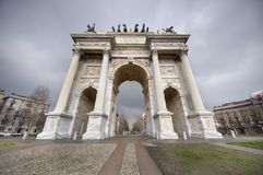Arch of Peace, Milano. Wide view of the Arch of Peace, Milano, Italy Royalty Free Stock Photography