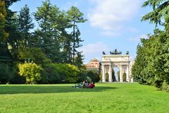 Arch of peace at the Sempion park in Milan Stock Image