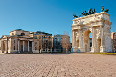 Arch of Peace of Sempione Gate in Milan. Arch of Peace of Gate Sempione, an ancient entrace of the city of Milan in Italy Royalty Free Stock Image