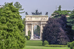 Arch of Peace of Sempione Gate in Milan, Italy Royalty Free Stock Photos
