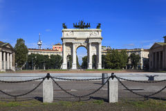 Arch of Peace in Sempione Park, Milan, Italy Stock Photo