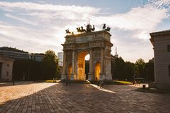 Arch of Peace in Sempione Park, Milan, Lombardy, Italy. Arco della Pace aka Porta Sempione in Milan, Italy.  Royalty Free Stock Photo