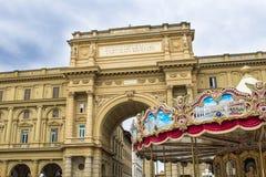 Arch on Piazza della Repubblica Republic Square. In Florence royalty free stock photos