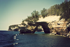Arch in Pictured Rocks National Lakeshore Stock Image