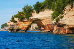Arch in Pictured Rocks National Lakeshore. Michigan, USA. Arch in Pictured Rocks National Lakeshore on the Lake Superior shoreline, Michigan, USA Royalty Free Stock Images