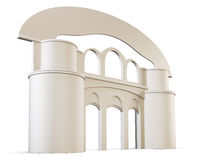 Arch and pillars  on white background. 3d render image Stock Image