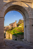 Arch of Properzio towers in Spello royalty free stock photos