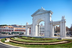 Arch Puerta de San Vicente at sunny spring day Royalty Free Stock Photos