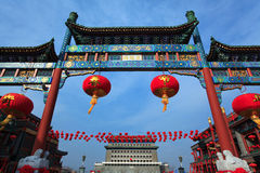 Arch in Qianmen Street , Beijing. China royalty free stock images