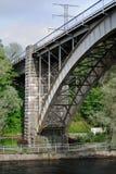 Arch railway bridge. Arch railway bridge overlooking the river embankment near the town of Heinola in Finland Stock Photography