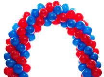 Arch of red and blue balloons. Red and Blue balloon background at a party Royalty Free Stock Images
