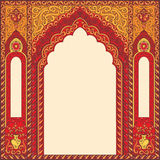 Arch of res in the oriental style with Arabic traditional ornaments. Eastern red frames, arch. Template design elements in oriental style. Floral Frame for cards Royalty Free Illustration