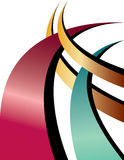 Arch-rivals. Intersecting curved shapes are featured in an abstract background illustration Stock Photos
