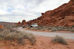 Arch Rock campground. In the Nevada Royalty Free Stock Photography