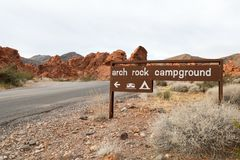 Arch Rock campground. In the Nevada Royalty Free Stock Photo